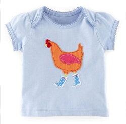 可愛公雞穿雨鞋貼布 蕾絲滾邊短袖上衣  橘魔法Baby magic 現貨