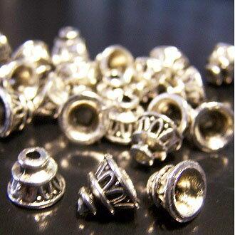 銀色花托  6mm DIY項鍊/手鏈配件 - 限時優惠好康折扣