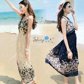 【V0040】shiny藍格子-沙灘假期.波西米亞風碎花圓領收腰無袖背心洋裝長裙