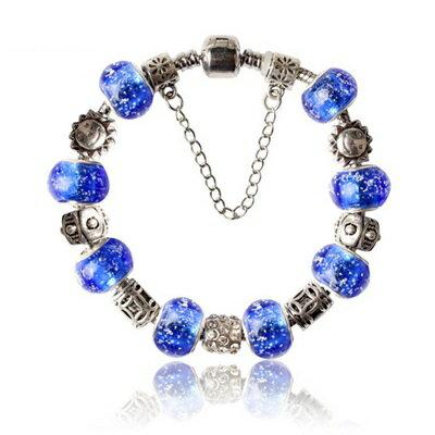 ~手鍊潘朵拉元素串珠手鍊925純銀~琉璃飾品藍色 精美七夕情人節生日 女 73bm79~