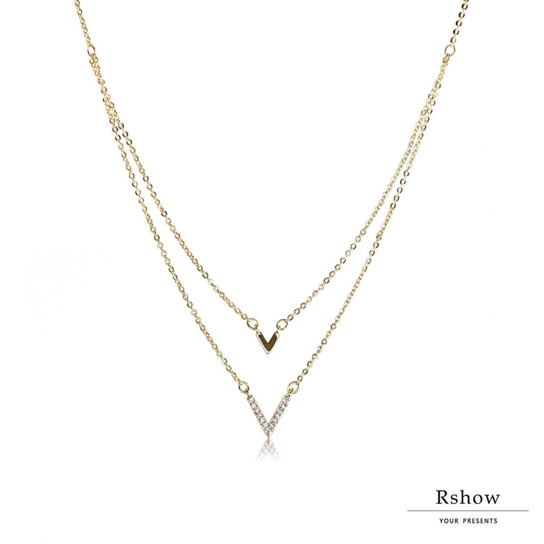 【Rshow】微鑲V形 簡約雙層 鎖骨鍊 1