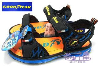 【巷子屋】GOODYEAR固特異 男童專業六大機能緩震氣墊運動涼鞋 [48696] 藍橘 超值價$298+免運