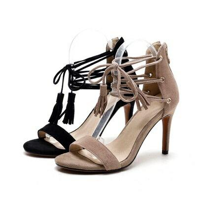真皮涼鞋高跟鞋~尖頭牛皮細跟流蘇女鞋子2色73ma22~ ~~米蘭 ~
