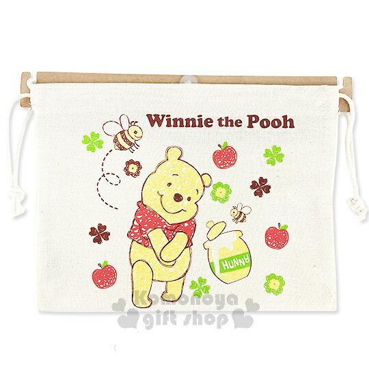 〔小禮堂〕迪士尼 小熊維尼 棉質束口袋~米白.蜂蜜罐.蜜蜂.幸運草.長型~