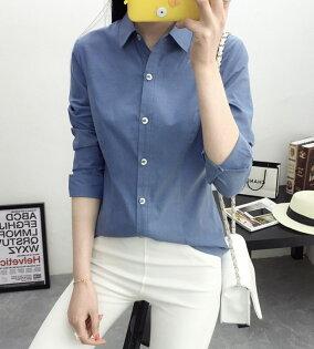 新款:韓版修身方格領牛仔藍OL襯衫長袖wcps113
