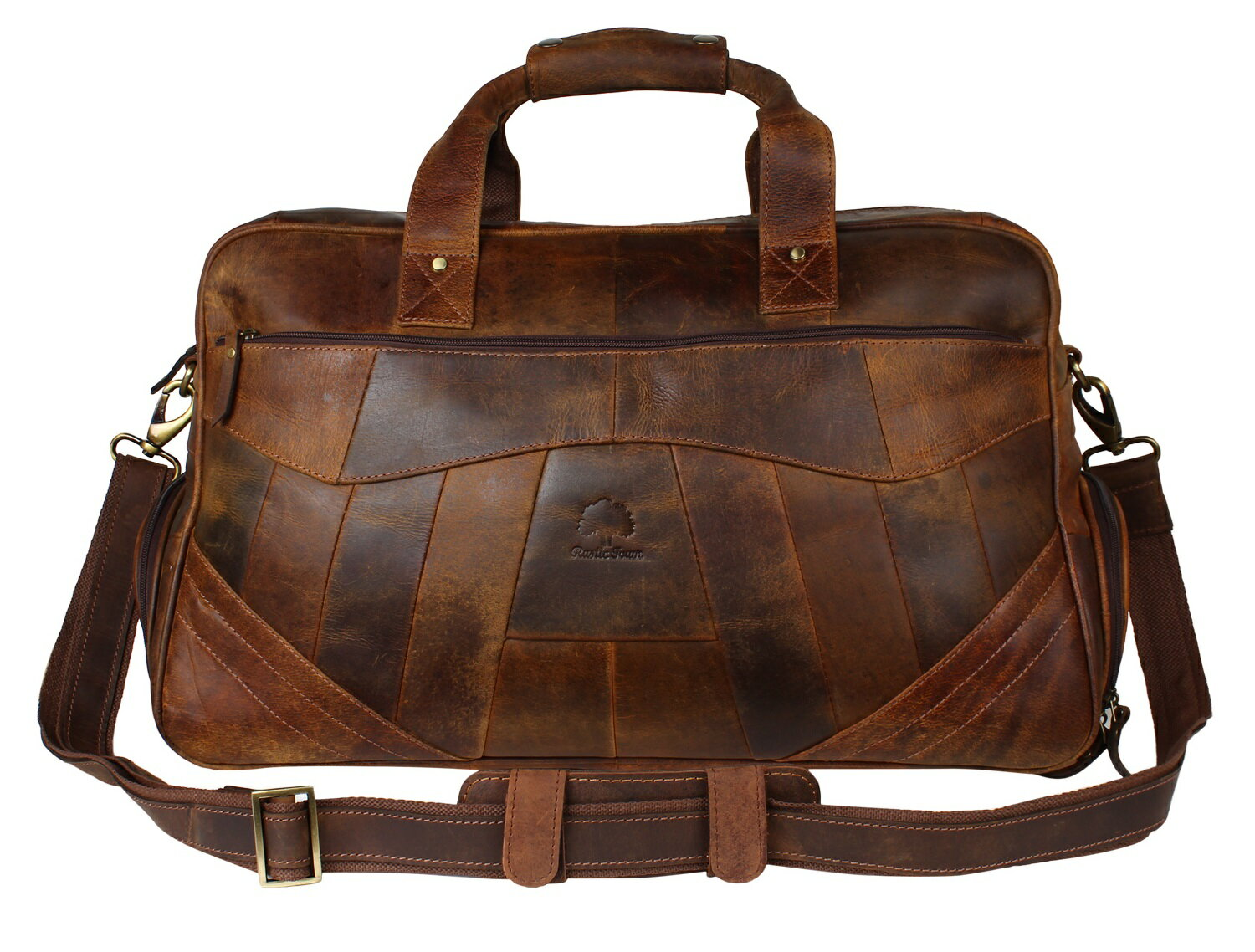 Rustic Town Leather Travel Duffel Bag Overnight Weekend Luggage Carry On Underseat Airplanes 0
