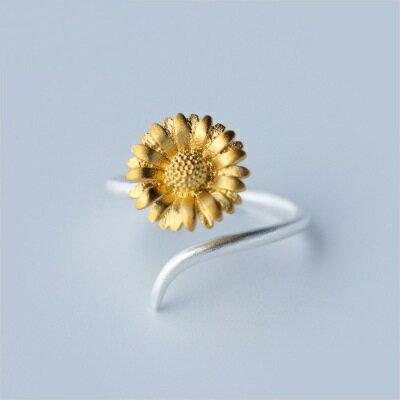 925純銀戒指開口戒~別緻向日葵 生日情人節 女飾品73dt423~ ~~米蘭 ~