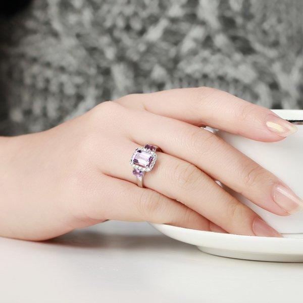 紫水晶女款戒指 銀鑲紫晶戒指 女 送女友