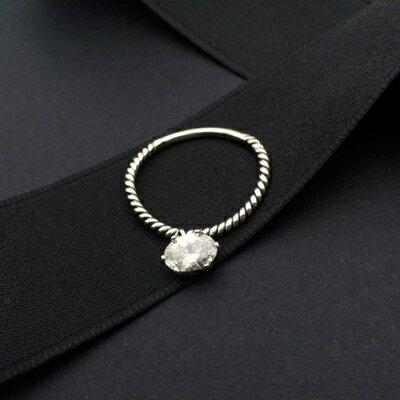925純銀戒指鑲鑽銀飾~簡約大方精美亮眼生日情人節 女飾品73ic25~ ~~米蘭 ~