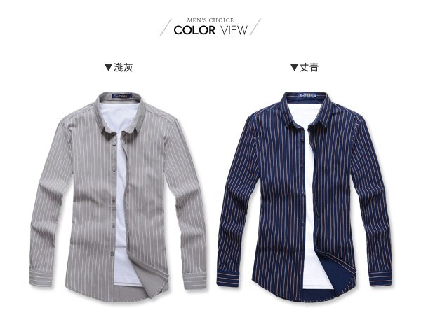 ☆BOY-2☆【NR92012】紳士修身直條紋長袖襯衫 1