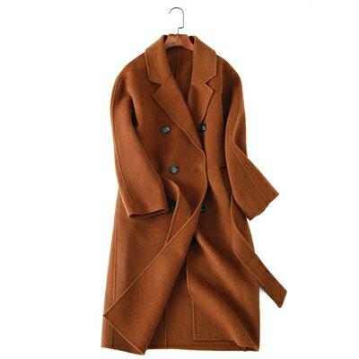 毛呢外套羊毛大衣-優雅大方長版雙排扣女外套3色73op11【獨家進口】【米蘭精品】