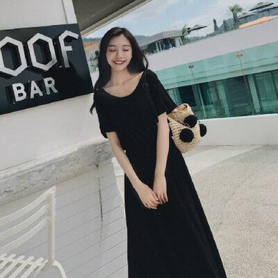 女裝深V露背黑色海邊度假莫代爾沙灘裙連身裙洋裝樂天時尚館。預購