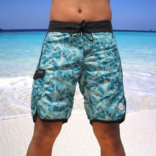 【5折優惠↘】REEF 夏日個性夏威夷椰子樹與REEF 衝浪的碰撞火花海灘衝浪褲.藍
