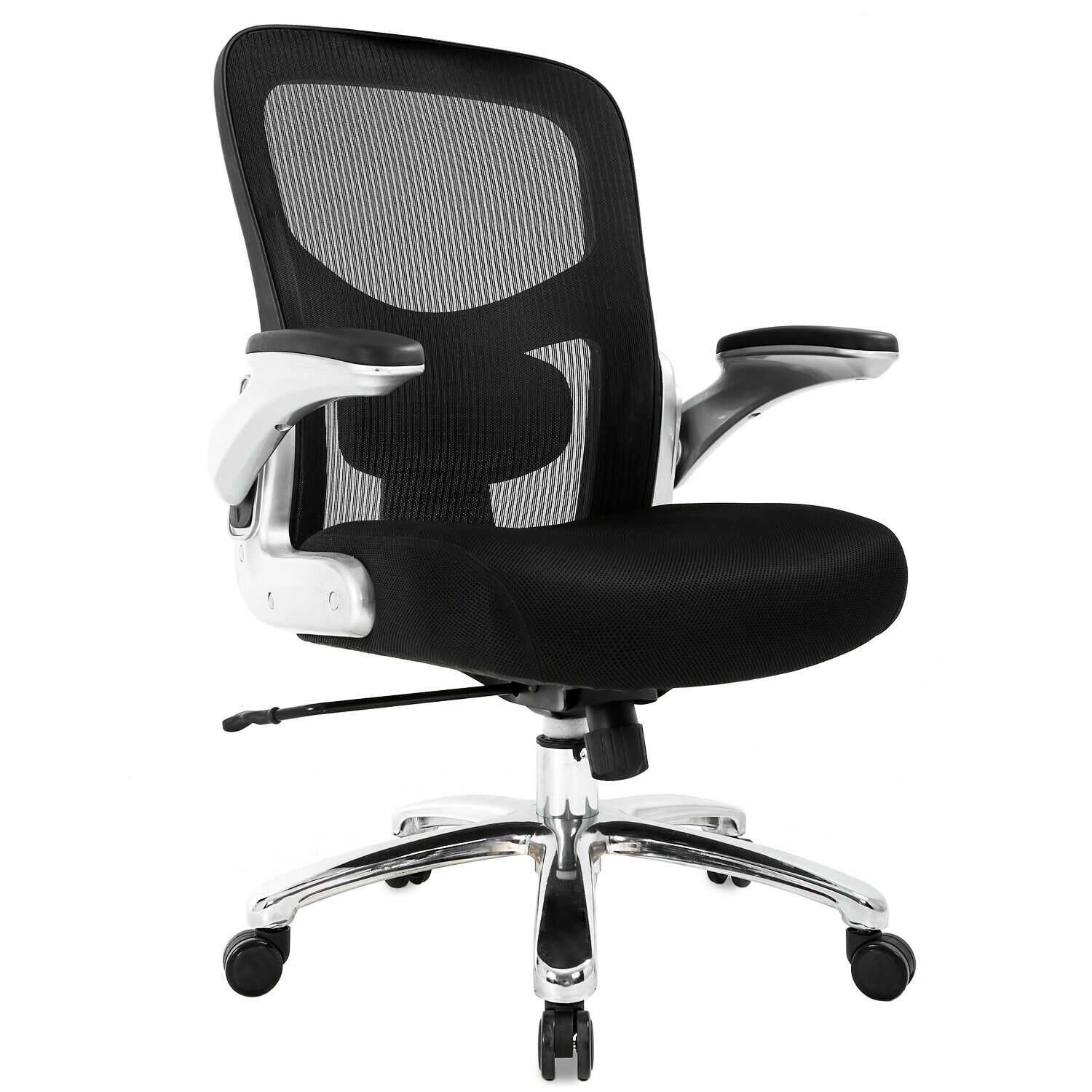 Big And Tall Office Chair Mesh Computer Chair Ergonomic Chair 500lbs Wide Seat With Lumbar Support Flip Up Arms Rolling Swivel High Back Desk Chair