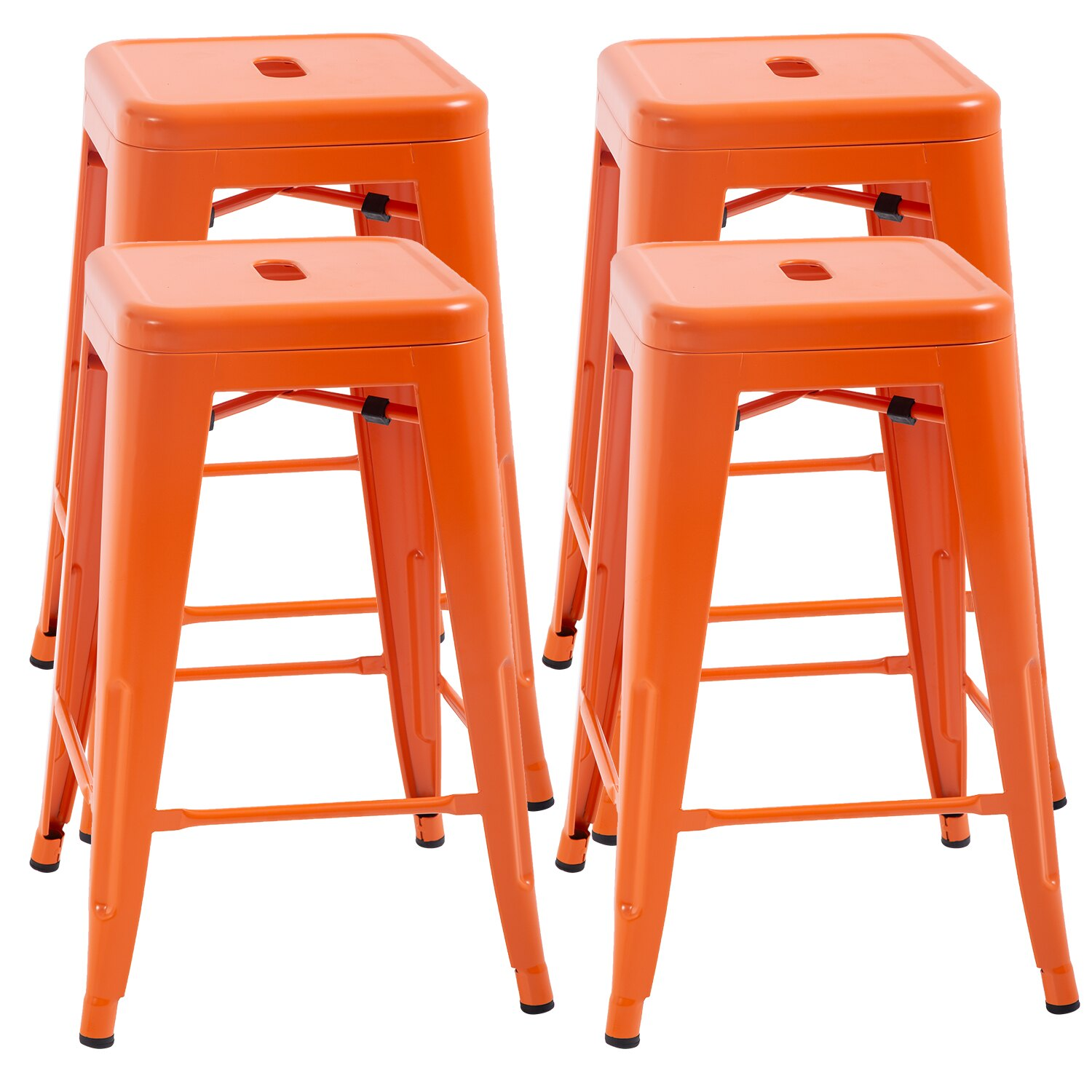 Counter Height Bar Stools Set Of 4 Metal Bar Stools Industrial Metal Stool Patio Furniture 24 Inches Kitchen Counter Stool Indoor Outdoor Stool Moden