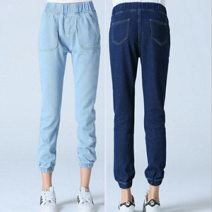 糖衣子輕鬆購【HY2610】韓版時尚修身顯瘦鬆緊腰束口9分牛仔褲