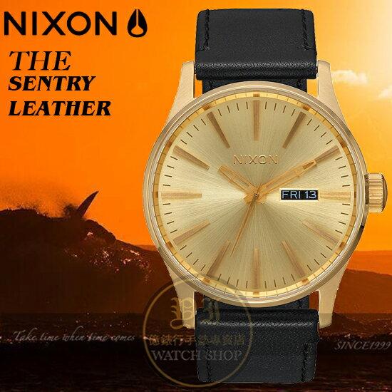 NIXON實體店THESENTRYLEATHER腕錶A105-510公司貨極限運動時尚潮流