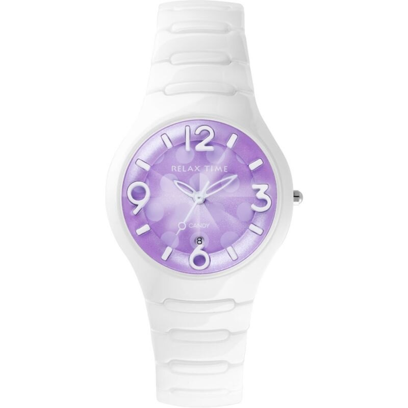 Relax Time RT~26~31點點系列紫羅蘭白陶瓷腕錶 紫面36.6mm