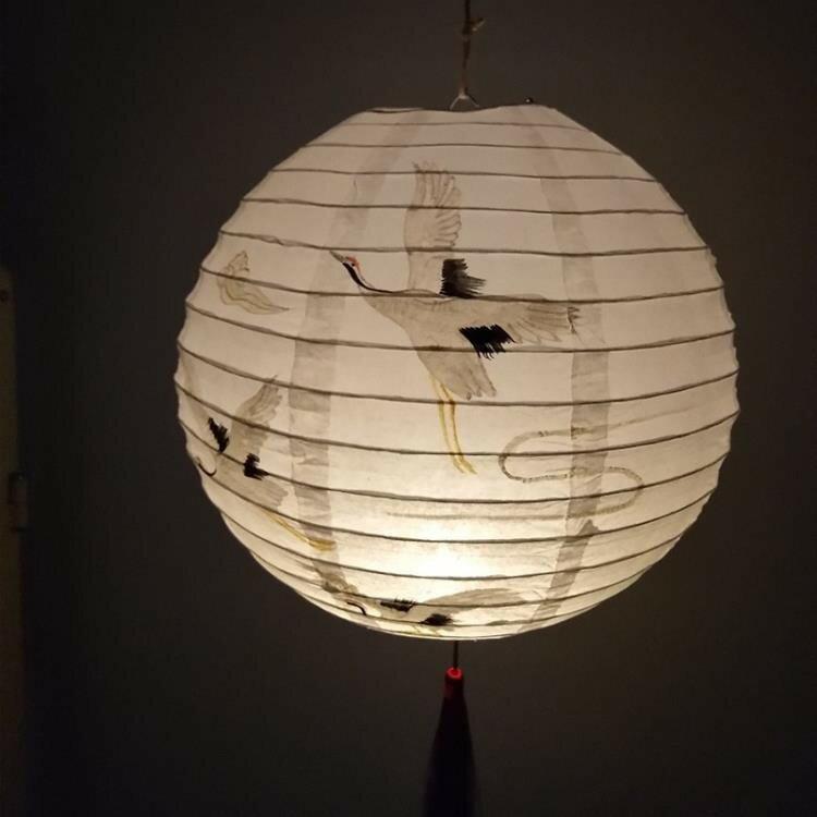 新年元宵春節小圓裝飾掛飾紙燈籠日式古風梅花竹子燈籠燈罩結婚慶ATF