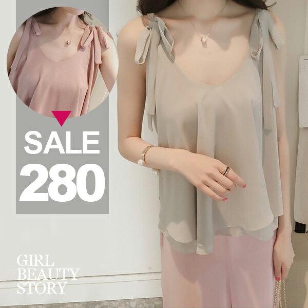 SISI~V7022~甜美戀夏圓領蝴蝶結繫帶吊帶雙層雪紡衫無袖背心上衣