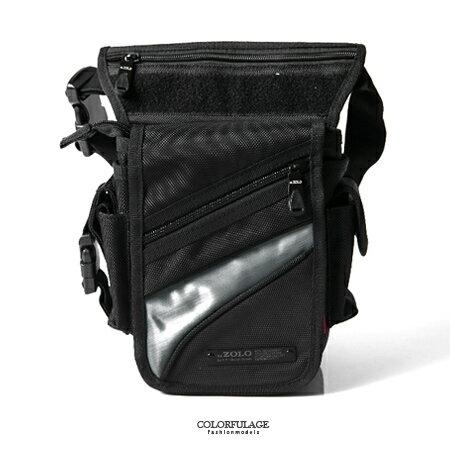 重機包 帥氣夜光銀 風黑色腿包 防潑水 多夾層收納空間 柒彩年代~NZ464~型男街頭