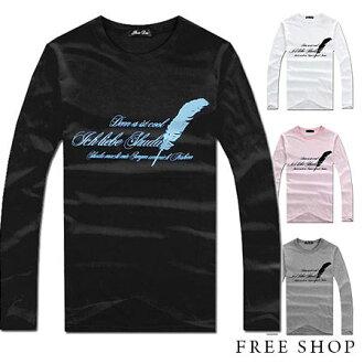 Free Shop【QR73397】美式休閒羽毛草寫字母圓領棉質長袖上衣長T‧三色 MIT台灣製 有大尺碼