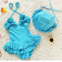 比基尼/泳裝/泳衣到兒童嬰兒可愛花朵連體裙式游泳衣寶寶女童泳裝+泳帽-粉藍色