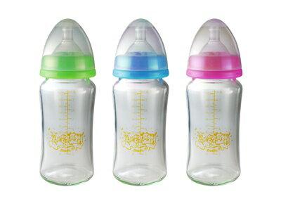 貝喜力克 防脹氣高耐熱寬口徑玻璃奶瓶240ml D257(顏色隨機出貨)【德芳保健藥妝】