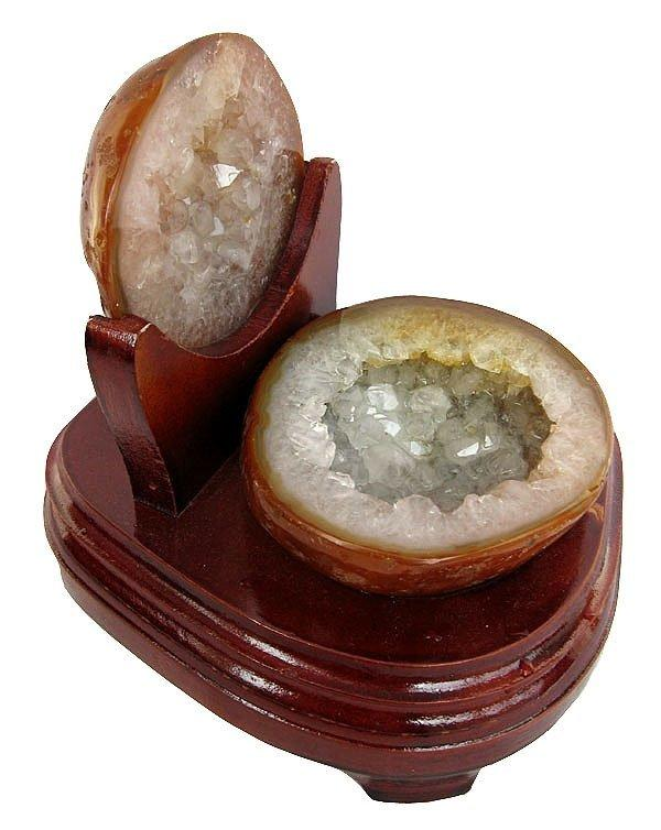 瑪瑙聚寶盆擺件1.25kg白水晶聚寶盆瑪瑙洞一圖一物