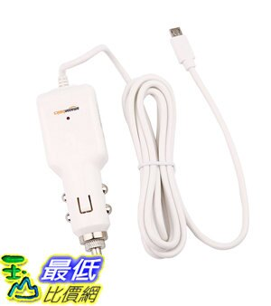 [106美國直購] AmazonBasics Micro 車載充電器 USB Universal Car Charger for Android - Coiled Cable - White