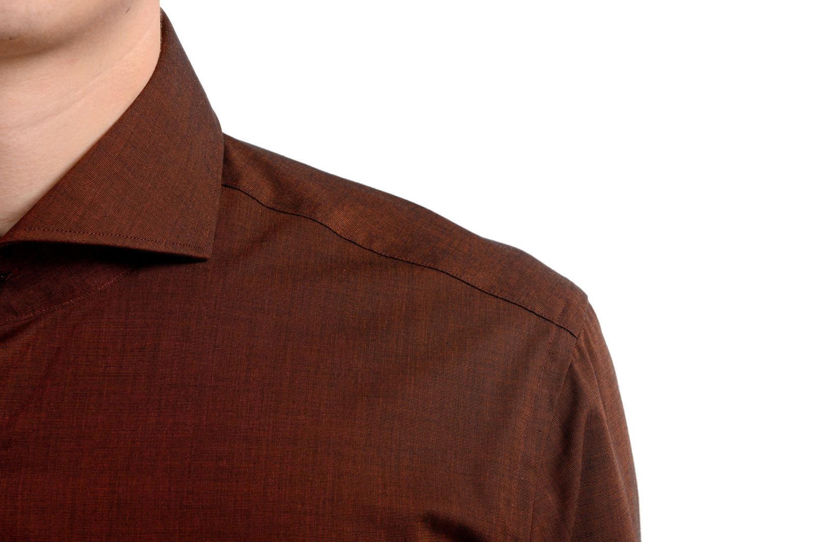 5d9afa1d Hugo Boss Slim Fit C-Dwayne Men's Brown Long Sleeve Dress Shirt US 15 3