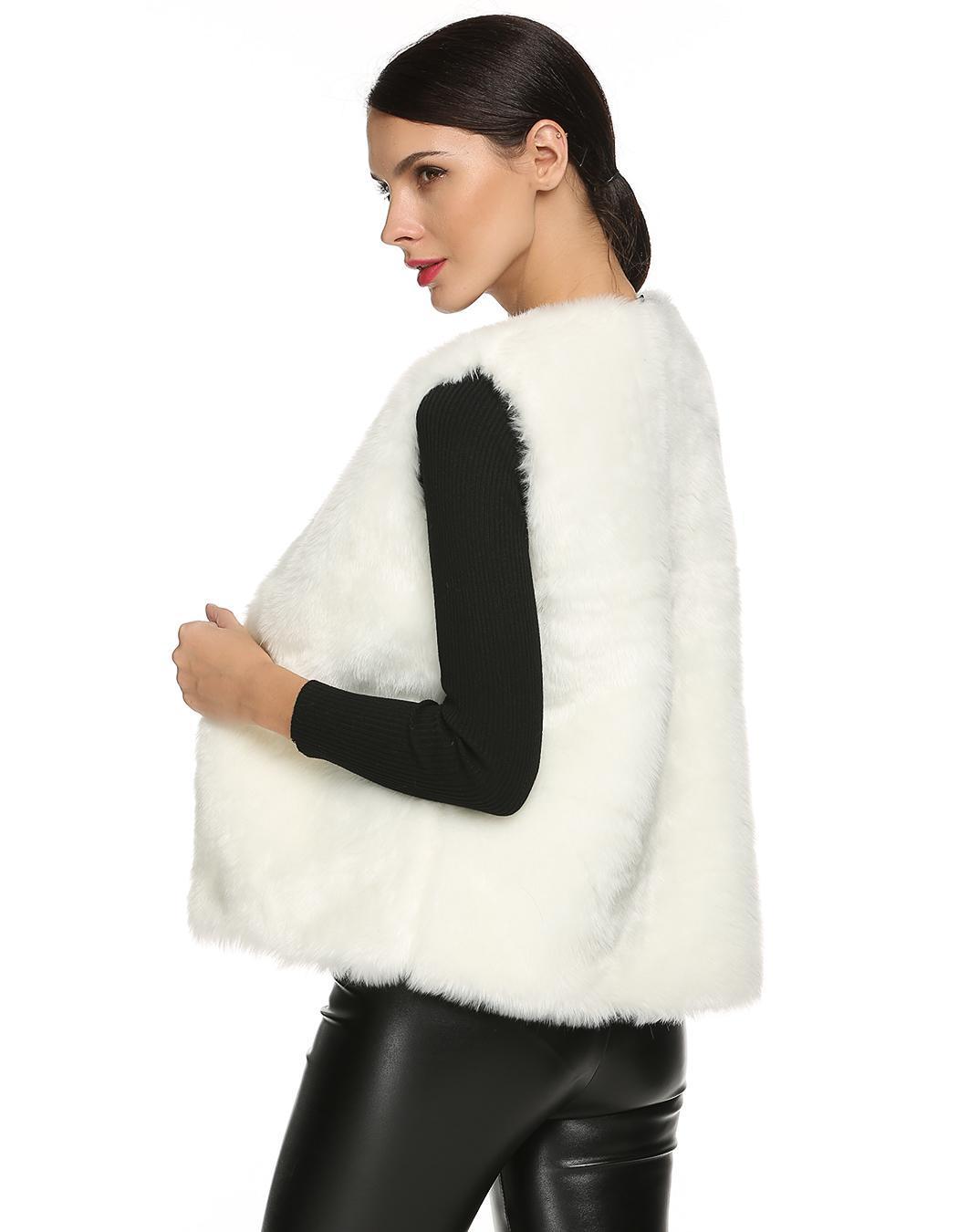 Women Sleeveless Casual Faux Fur Vest Warm Coat 3