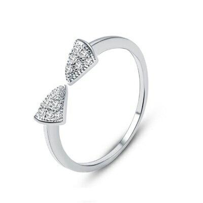 925純銀戒指鑲鑽銀飾~小巧可愛耀眼迷人母親節生日情人節 女飾品2色73dx81~ ~~米
