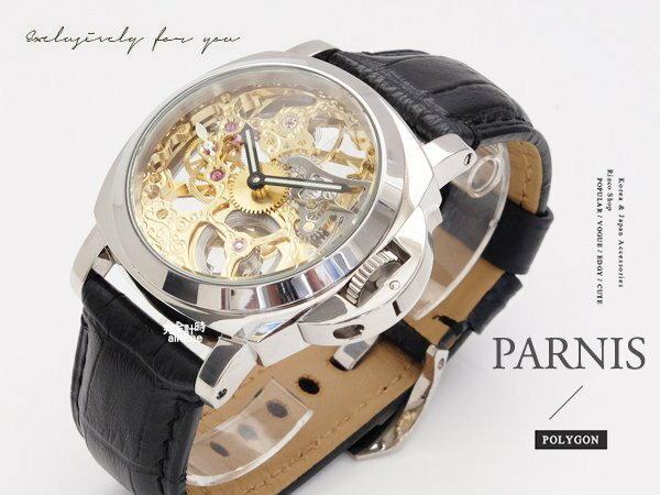 【完全計時】手錶館│PARNIS軍錶風格 極緻鏤空雕花手動上鍊43mm l 底蓋鏤空 PA4003 金色款