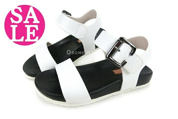 女童涼鞋 韓版 中童涼鞋 魔鬼氈涼鞋 零碼出清 H6990#白◆OSOME奧森鞋業