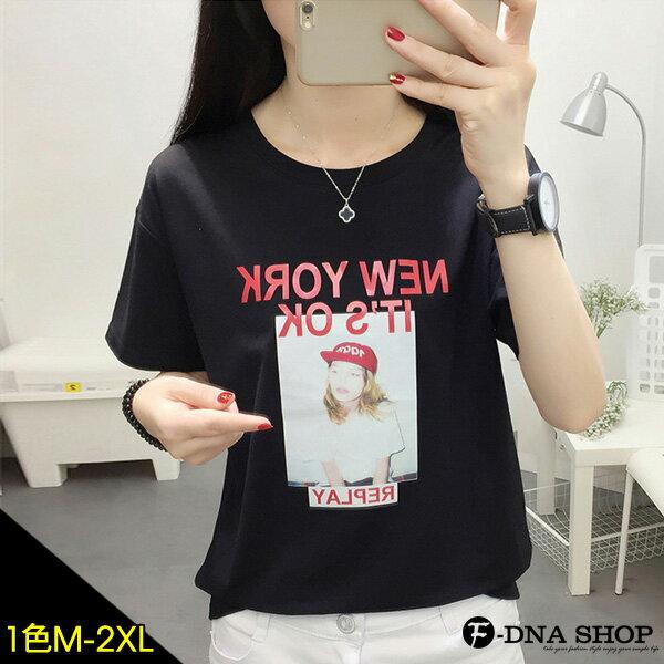 F-DNA★紅帽女孩NEWYORK圓領短袖上衣T恤(黑-M-2XL)【ET12758】