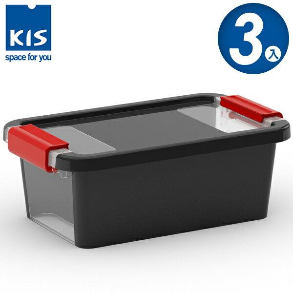 E&J【012011-01】義大利 KIS BI BOX 單開收納箱 XS 黑色 3入;收納盒/整理箱/收納櫃/玩具盒