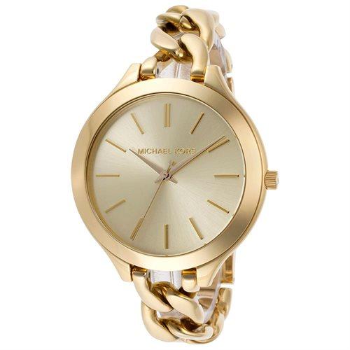 Michael Kors Slim Runaway Japanese Quartz Gold Dial Women's Watch - MK3222 0