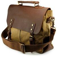 Men's Vintage Canvas Leather Satchel School Military Messenger Shoulder Bag Travel Bag - Khaki
