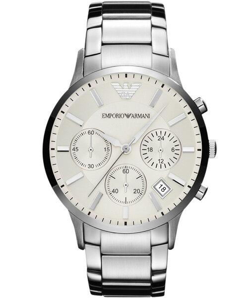 EMPORIO ARMANI/AR2458經典義大利品味計時腕錶/白面46mm