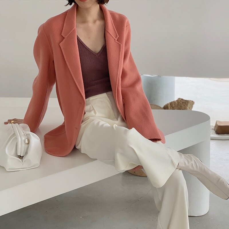 毛呢大衣羊毛外套-短版純色寬鬆翻領女外套5色73wb17【獨家進口】【米蘭精品】 0