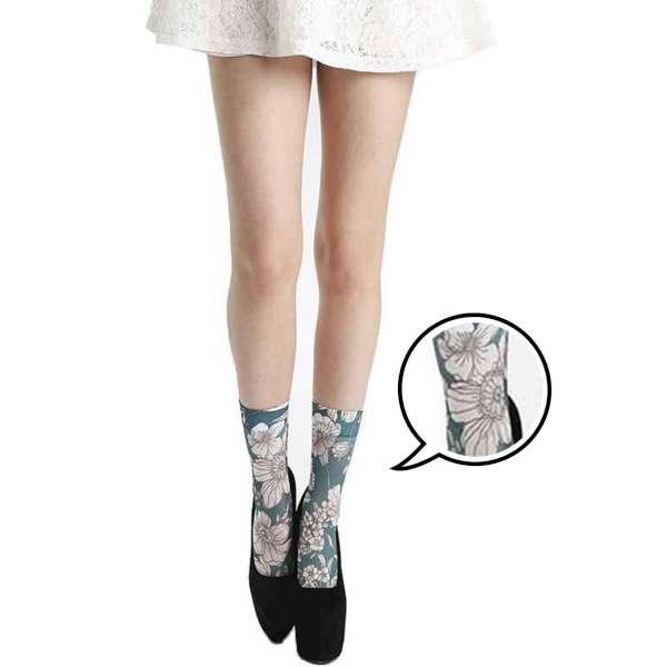 【摩達客】英國進口義大利製Pamela Mann 藍綠彩繪花圖紋彈性短襪/腳踝襪