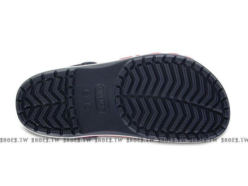 《CROCS出清69折》Shoestw【205089-4CC】CROCS 卡駱馳 鱷魚 輕便鞋 拖鞋 涼鞋 深藍白紅 弧線 中性款 2