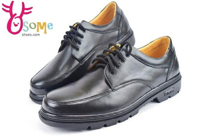 全真皮學生皮鞋 台灣製 綁帶款 男皮鞋C4893#黑 奧森