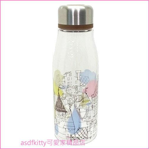 asdfkitty可愛家☆KITTY房子透明瓶身直飲水壺隨手瓶-500ML-輕量好攜帶-日本正版商品