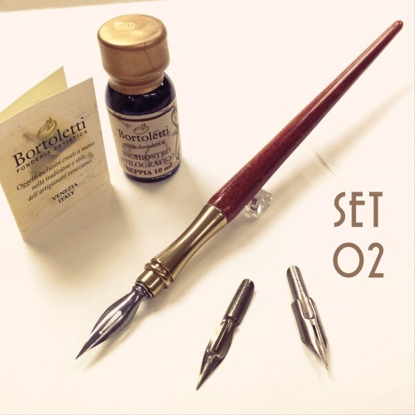 缺貨中 義大利 Bortoletti set02 木質筆桿沾水筆+筆尖+墨水 組(光滑握位)21501170095719 / 組