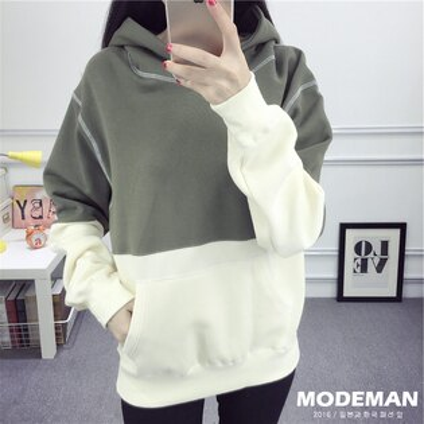 【MODE MAN】簡約配色拼接長袖帽T『現貨+預購』
