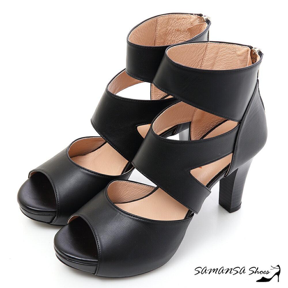 [SAMANSA] 完美修長美腿-真皮羅馬靴   -#15119 時尚黑