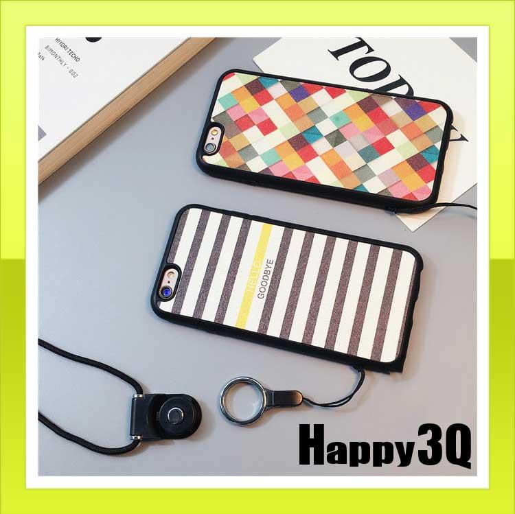 簡單優雅 防摔軟殼掛繩iPhone7 6s 6手機殼~方格 條紋~AAA0856~