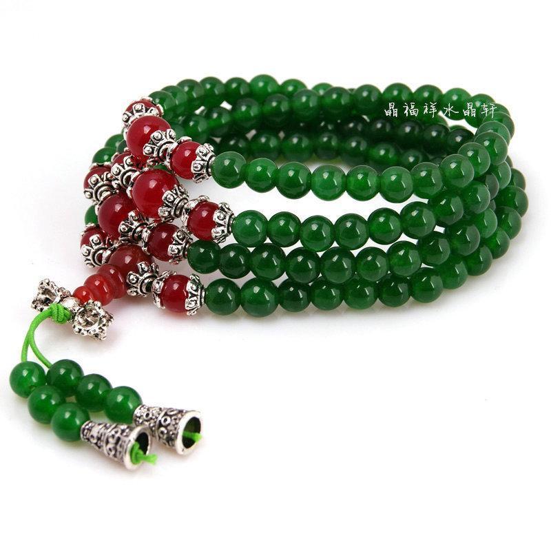 水晶綠玉髓配紅瑪瑙佛珠 108銀手鏈手串 水晶佛珠手鏈